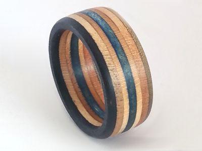 Upcycling Skateboard Ring Breite 9 mm gewachst Ringgröße 15 bis 24