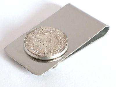 Edelstahl Geldscheinklammer 1/2 Mark Münze Kaiserreich Silber 900er poliert