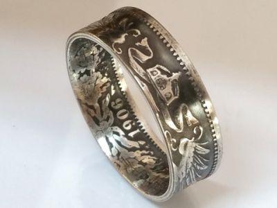 Münzring 1 Mark Kaiserreich Silber 900er 1891-1916 Gr 54 bis 60 vintage