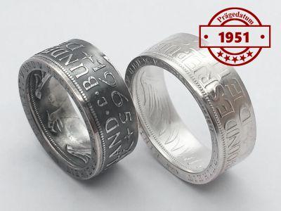 Münzring 1951 BRD 5 Mark mit Datum Heiermann Silberadler Silber 625er