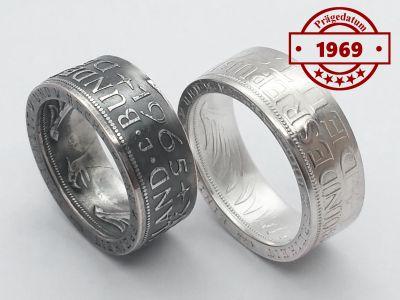 Münzring 1969 BRD 5 Mark mit Datum Heiermann Silberadler Silber 625er