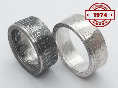 Münzring 1974 BRD 5 Mark mit Datum Heiermann Silberadler Silber 625er
