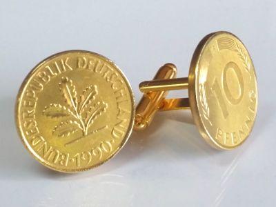 Manschettenknöpfe 10 Pfennig Münze 24 Karat vergoldet 1949 bis 2001