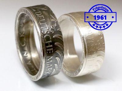 Münzring 1961 BRD 2 Mark mit Datum Kursmünze 24 Karat versilbert