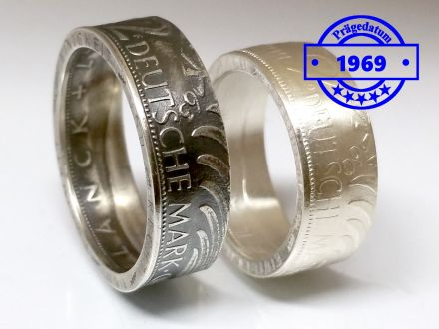 Münzring 1969 BRD 2 Mark mit Datum Kursmünze 24 Karat versilbert