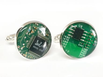 1 paar Upcycling Metall Manschettenknöpfe Ø 17,8 mm Computer Platine in grün