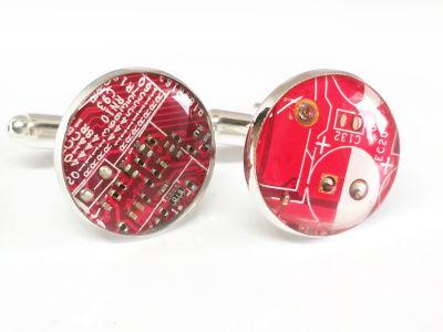 1 paar Upcycling Metall Manschettenknöpfe Ø 17,8 mm Computer Platine in rot