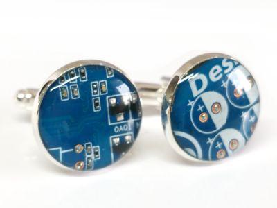 1 paar Upcycling Metall Manschettenknöpfe Ø 17,8 mm Computer Platine in blau