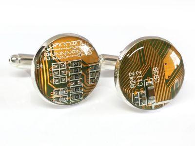 1 paar Upcycling Metall Manschettenknöpfe Ø 17,8 mm Computer Platine in gelb