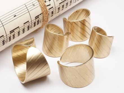 Ring aus Schlagzeug Becken 20mm breit Messing Größe 46 bis 82