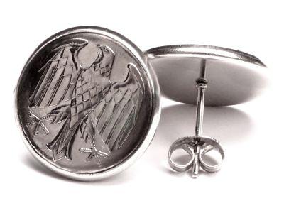 Ohrstecker 1 Mark Münzen Deutschland Bundesadler aus Edelstahl Ø 17,7mm