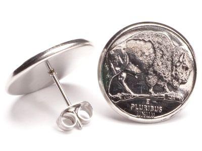 Ohrstecker 5 Cents Münzen USA Bison aus Edelstahl Ø 17,7mm