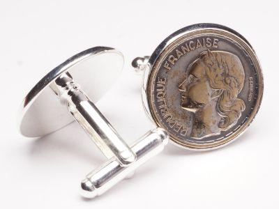 Manschettenknöpfe 10 Francs Frankreich vintage Ø 22mm