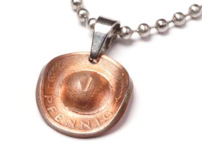Anhänger Cowboyhut Münze 1 Pfennig BRD Deutschland Glückspfennig mit Kugelkette