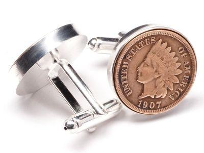 Manschettenknöpfe One Cent USA Indian Head Ø 22mm