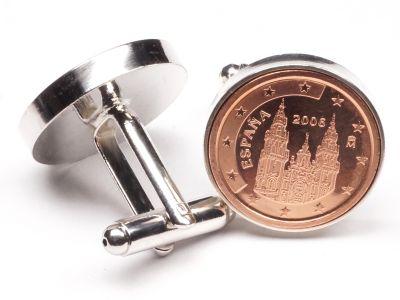 Manschettenknöpfe 2 Cent Spanien Santiago de Compostela Ø 22mm