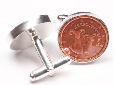 Manschettenknöpfe 2 Cent Zypern Mufflon - Wildschafart Ø 22mm