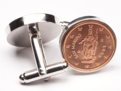 Manschettenknöpfe 2 Cent San Marino Freiheitsstatue Ø 22mm