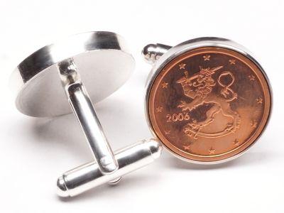 Manschettenknöpfe 2 Cent Finnland Heraldische Löwe Ø 22mm