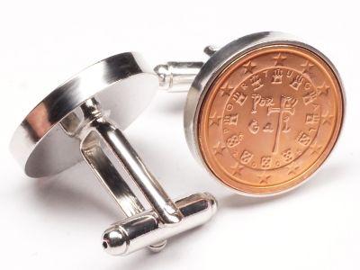 Manschettenknöpfe 2 Cent Portugal Königliche Siegel von 1134 Ø 22mm