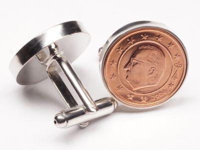 Manschettenknöpfe 2 Cent Belgien König Albert II Ø 22mm