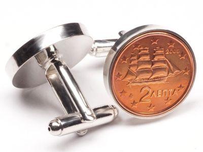 Manschettenknöpfe 2 Cent Griechenland Schiffstyp Korvette Ø 22mm