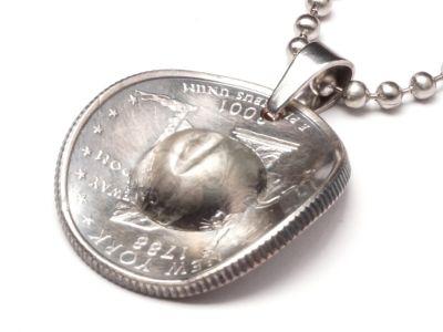 Anhänger Cowboyhut Münze 25 cents USA Freiheitsstatue Liberty mit Kugelkette