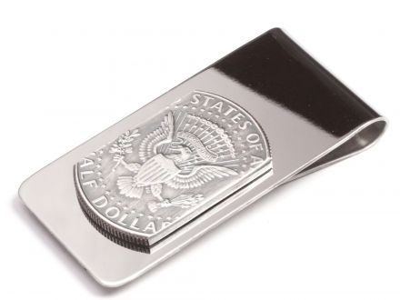 Edelstahl Geldscheinklammer 1/2 Dollar Münze USA Staatssiegel vintage