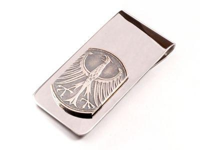 Edelstahl Geldscheinklammer 5 Mark Münze Deutschland Silberadler vintage